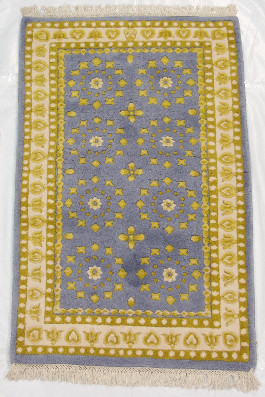 rra 3x5 indo art deco design blue and gold rug 13467. Black Bedroom Furniture Sets. Home Design Ideas