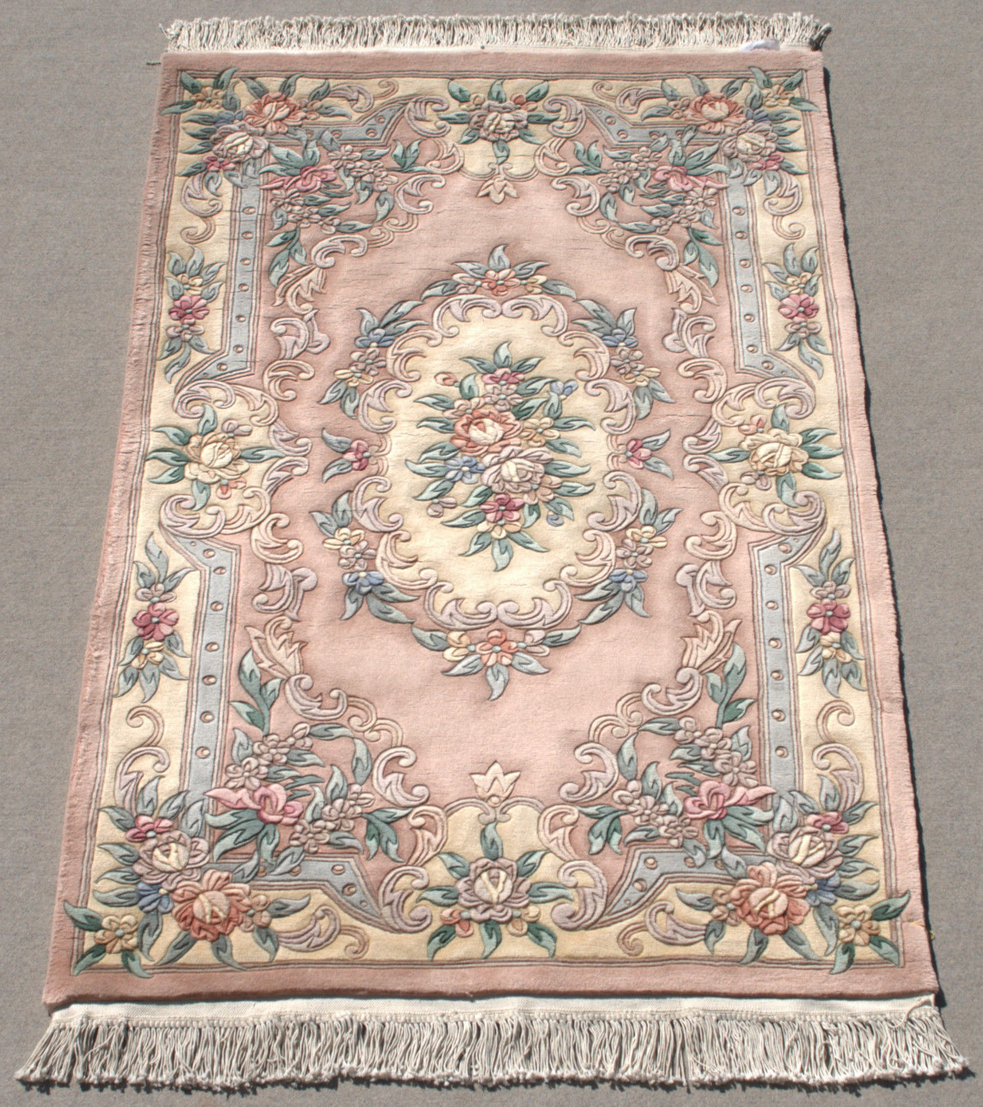 RRA 4x6 Chinese Aubusson Design Light Pink Rose Rug 29237