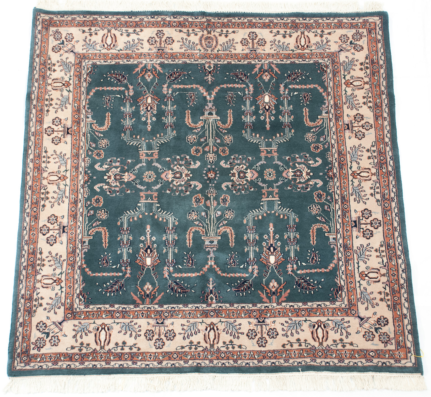 RRA 6x6 Square Rug Indo Persian Sarouk Design Teal Green