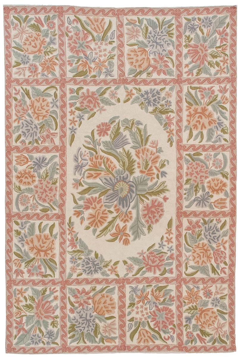 Rra 6x9 Chain Stitch Rug Floral Block Design Ivory Carpet