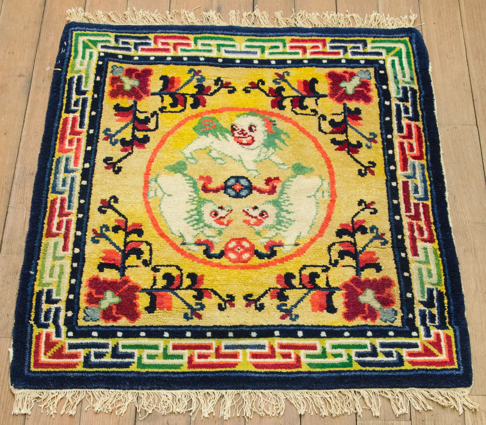 Antique Chinese Rug: RRA 2x2 Antique Chinese Lion Gold Collector Oriental Rug