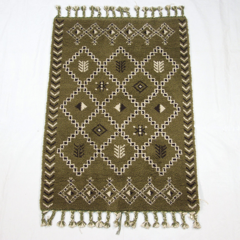 Rra 4x6 Indo Moroccan Rug Tribal Geometric Design Olive