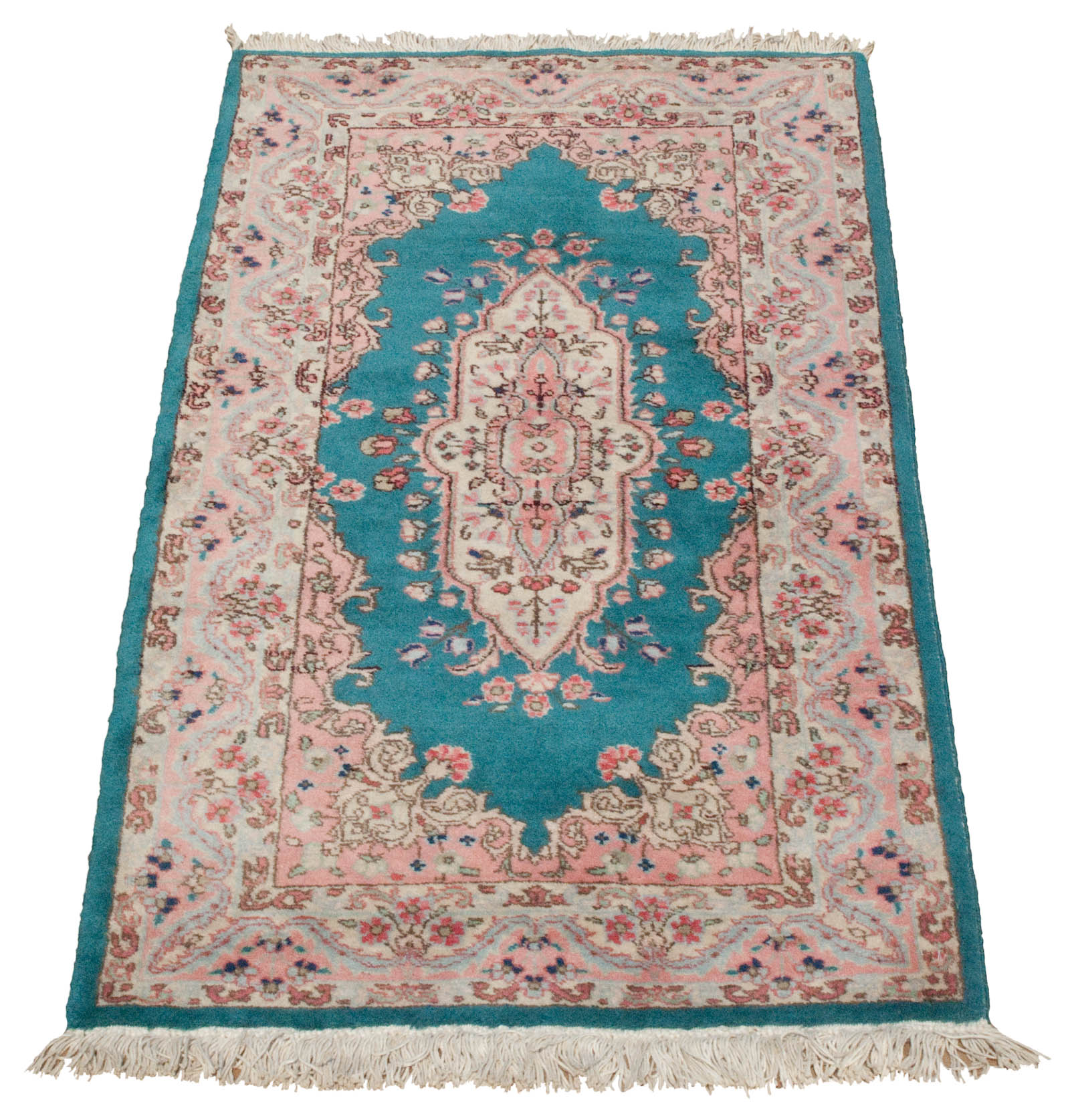 Gorgeous Teal Aquamarine Vintage Persian Tabriz Rug