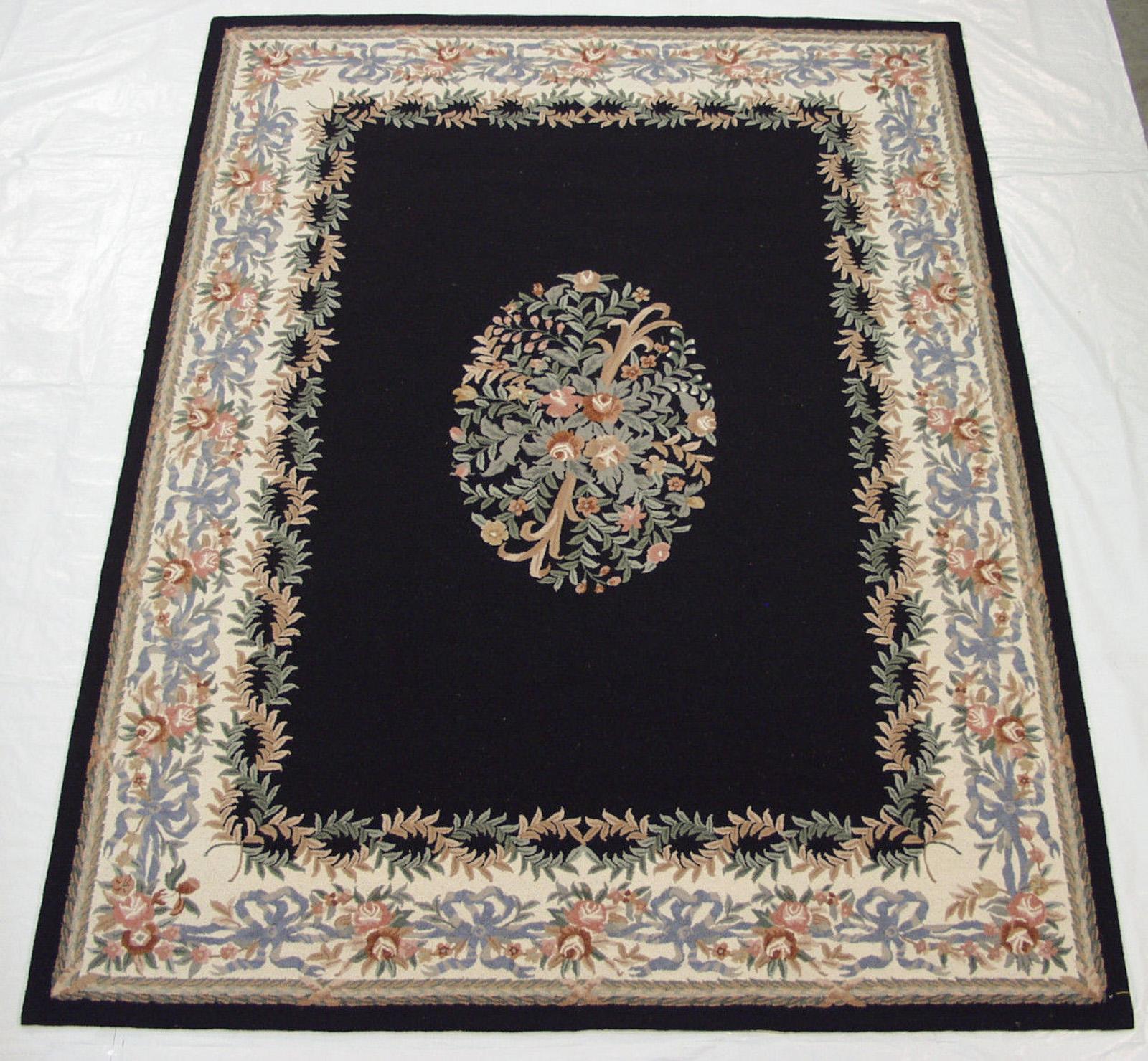 Hooked English Needlepoint Design Carpet 9x12 Black Rug