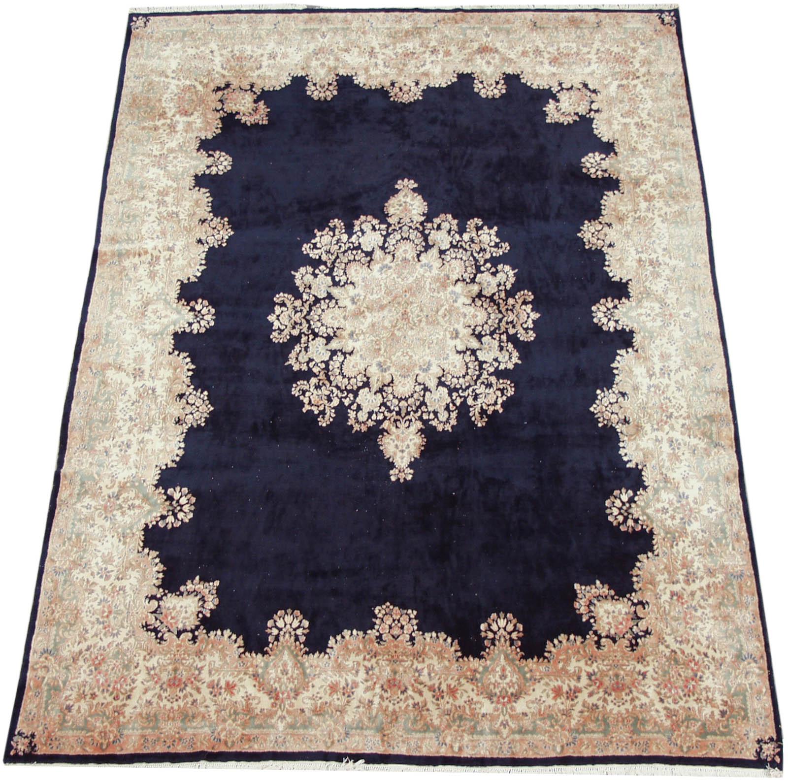 RRA 12x17 Persian Rug Kerman Carpet Dark Blue Rug 12235