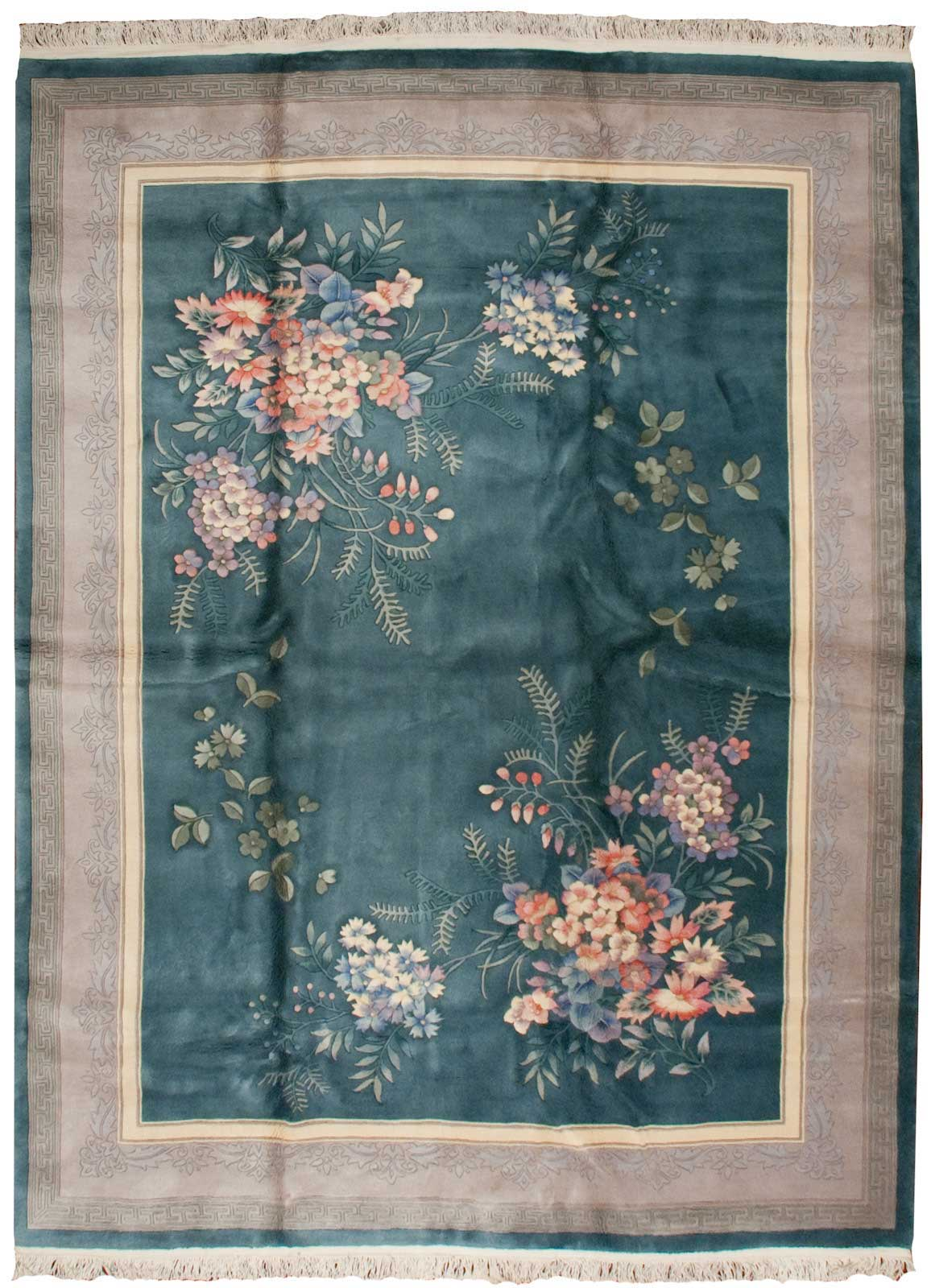 Rra 9x12 Chinese Contemporary Floral Design Teal Green Rug