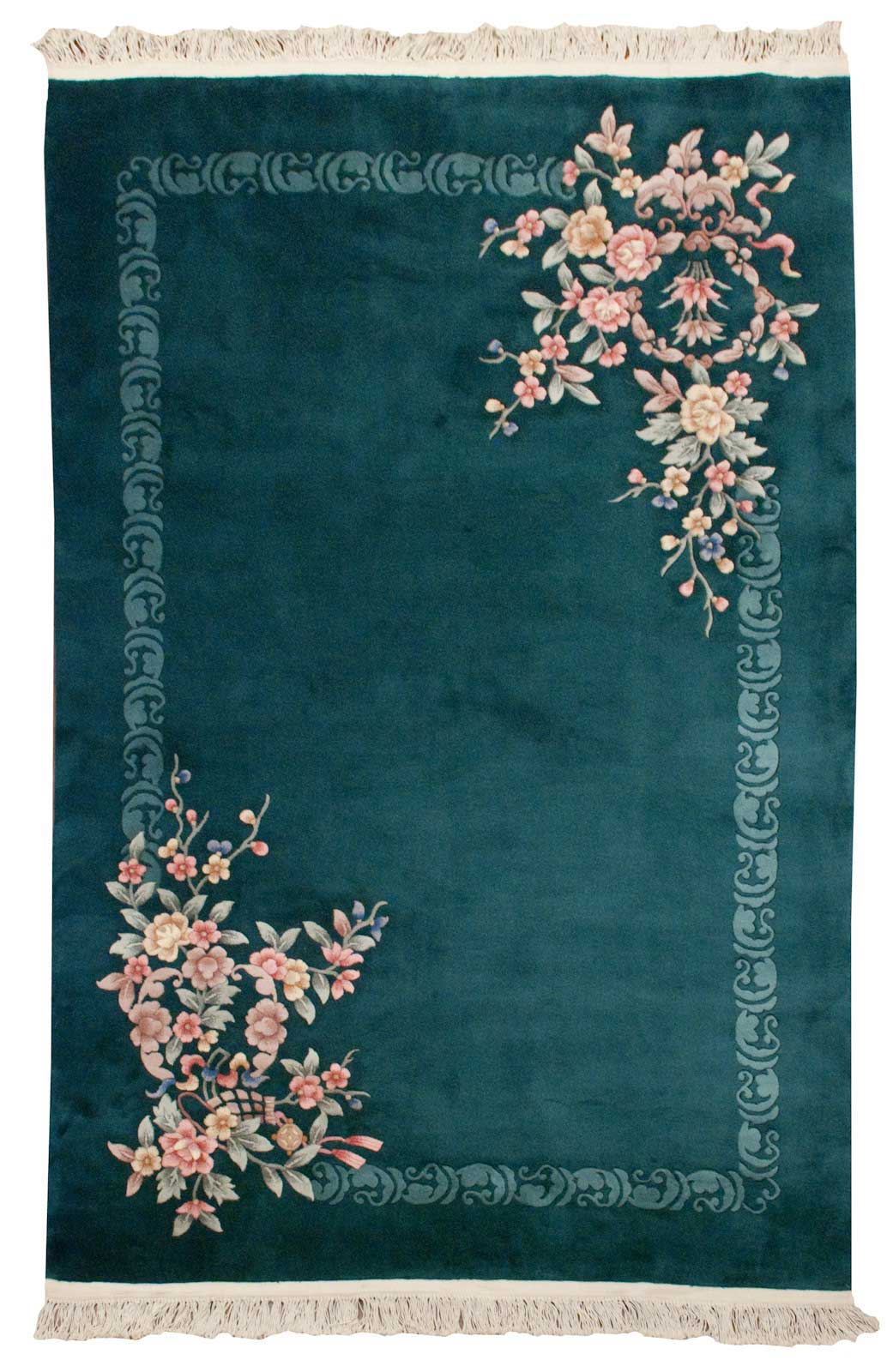 Rra 6x9 Chinese Art Deco With Shadow Border Dark Green Rug 020069
